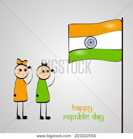 illustration of kids and Indian flag with Happy republic day text on the occasion of Indian Republic day