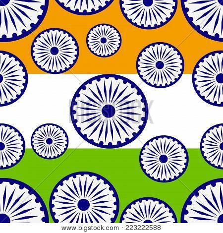 illustration of Indian flag wheels on Indian flag background on the occasion of Indian Republic day