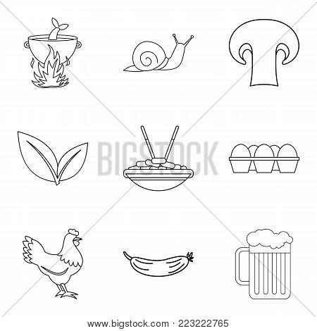 Fresh produce icons set. Outline set of 9 fresh produce vector icons for web isolated on white background