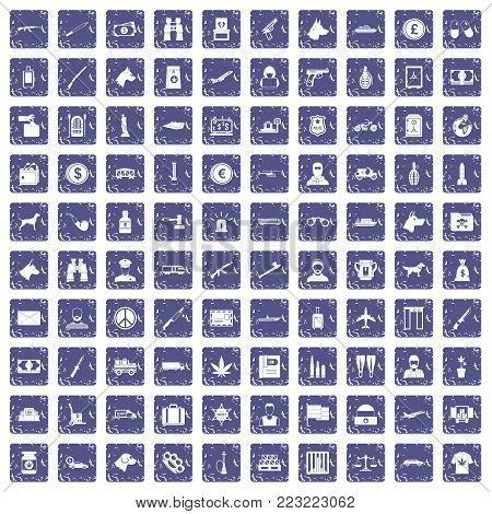 100 smuggling  icons set in grunge style sapphire color isolated on white background vector illustration