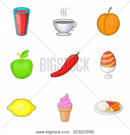 Fresh foodstuff icons set. Cartoon set of 9 fresh foodstuff vector icons for web isolated on white background