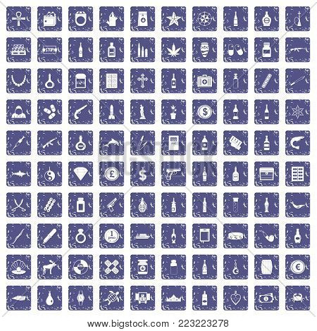 100 smuggling goods icons set in grunge style sapphire color isolated on white background vector illustration