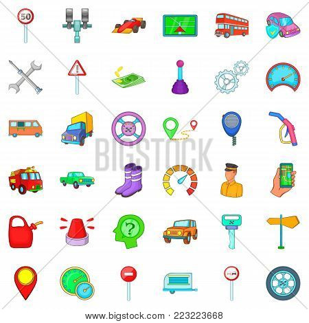 Large car icons set. Cartoon set of 36 large car vector icons for web isolated on white background