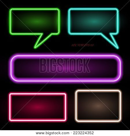 Neon rectangle and a set of neon banners - vector eps10