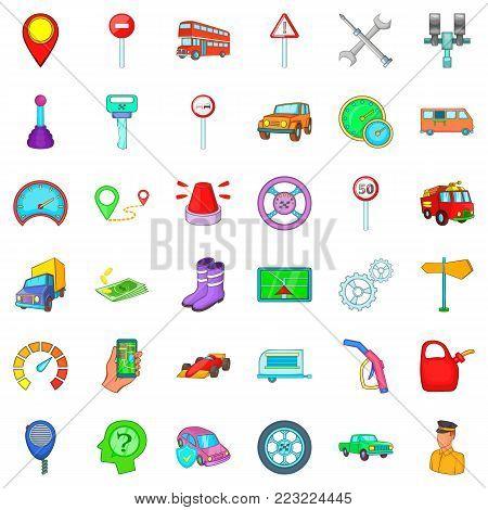 Motor transportation icons set. Cartoon set of 36 motor transportation vector icons for web isolated on white background