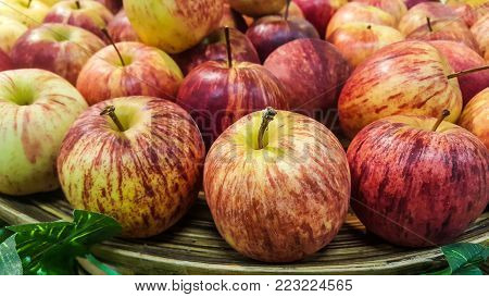 Pile of fresh red apple at market
