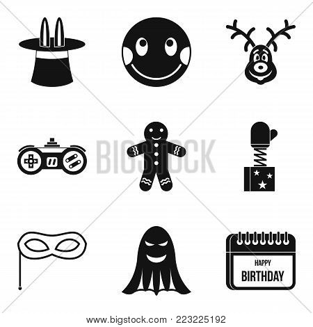 Merriment icons set. Simple set of 9 merriment vector icons for web isolated on white background