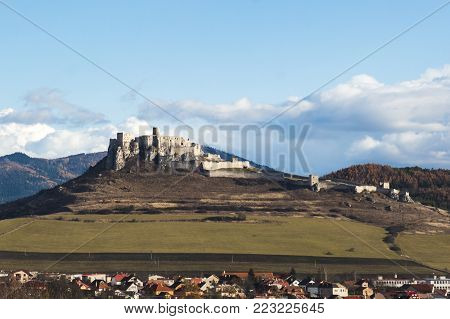 Spis Castle, Slovakia, UNESCO heritage panorama from far