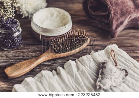 Natural Spa Set For Woman. Hair Care, Pampering. Sandalwood Comb, Cream. Flat Lay Photography, Top V