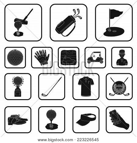 Golf and attributes black icons in set collection for design.Golf Club and equipment vector symbol stock  illustration.