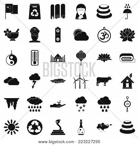Country in asia icons set. Simple set of 36 country in asia vector icons for web isolated on white background