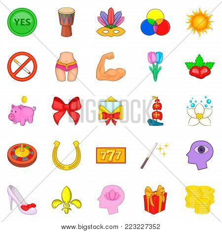 Excellence icons set. Cartoon set of 25 excellence vector icons for web isolated on white background