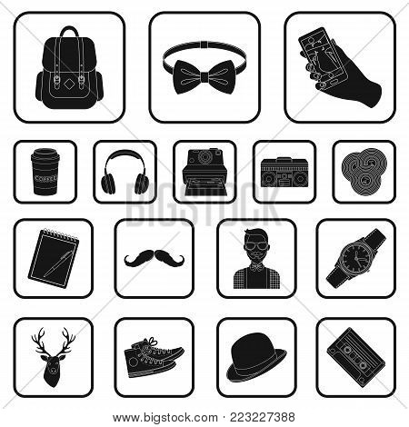Style Hipster black icons in set collection for design. Hipster Attributes and accessories vector symbol stock  illustration.
