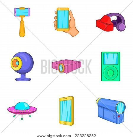 Contraption icons set. Cartoon set of 9 contraption vector icons for web isolated on white background