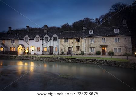 Dusk at Castle Combe in Wiltshire England
