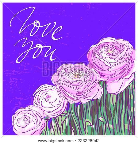 You are my soul lettering on background with pink ranunculus flowers