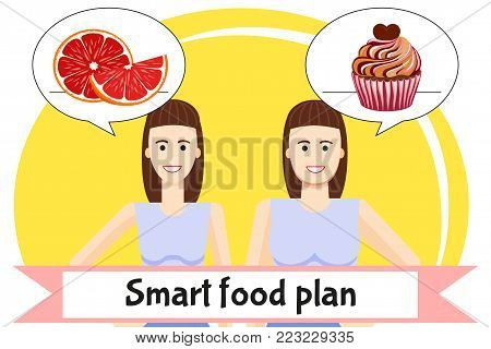 Smart food plan poster. Pretty girls favorite healthy and unhealthy food. Diet choice. Two body women types overweight and slim. Weight loss before and after illustration.