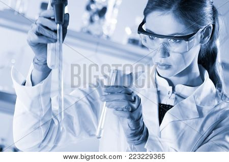 Life scientists researching in laboratory. Focused female life science professional pipetting solution into glass cuvette. Healthcare and biotechnology. Greyscale blue toned image.