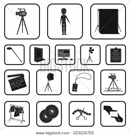 Making a movie black icons in set collection for design. Attributes and Equipment vector symbol stock  illustration.