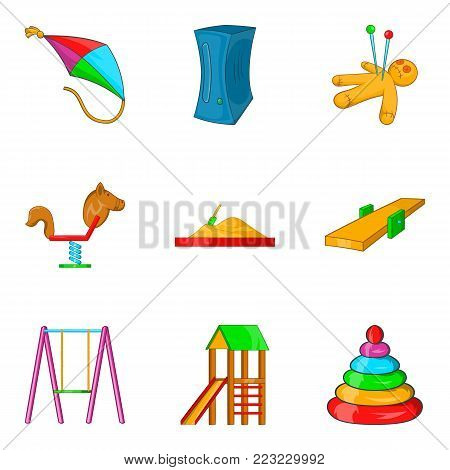 Childhood game icons set. Cartoon set of 9 childhood game vector icons for web isolated on white background
