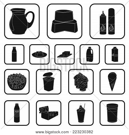Milk product black icons in set collection for design.Milk and food vector symbol stock  illustration.