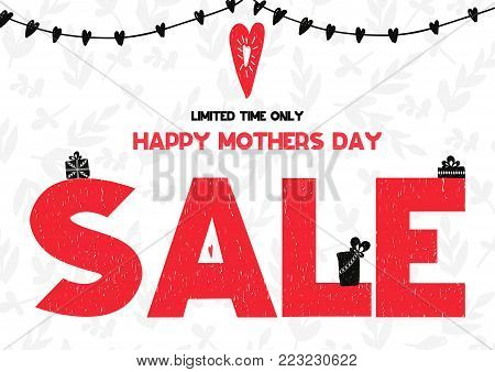 Limited Time Only Happy Mothers Day Sale Card. Vector Illustration On White Pattern Backgroung With