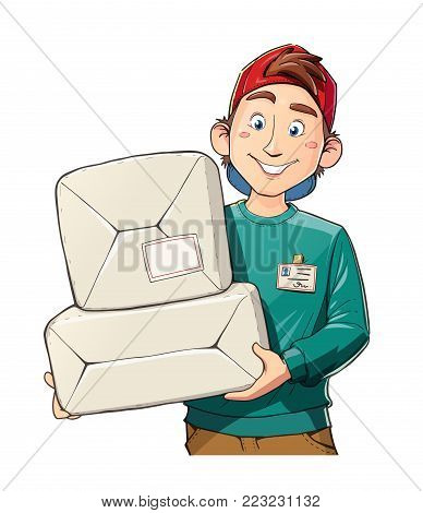 Man with package. Delivery service. Postman with mail. Cartoon character. Isolated white background. Eps10 vector illustration.