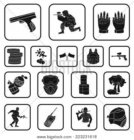 Paintball, team game black icons in set collection for design. Equipment and outfit vector symbol stock  illustration.