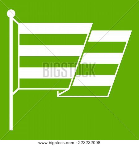 Flag LGBT icon white isolated on green background. Vector illustration