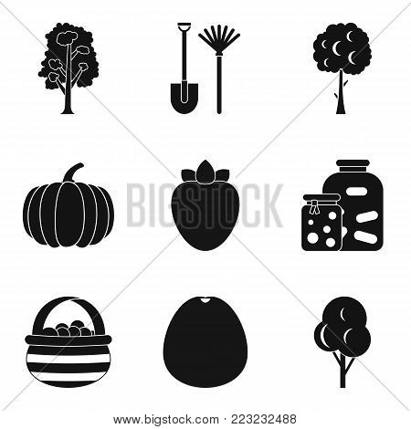 Horticultural icons set. Simple set of 9 horticultural vector icons for web isolated on white background