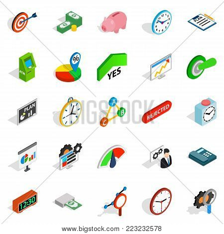 Money exchange icons set. Isometric set of 25 money exchange vector icons for web isolated on white background