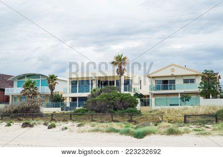 Melbourne, Australia - February 28, 2015: beachside homes in Edithvale in Melbourne's south eastern suburbs.