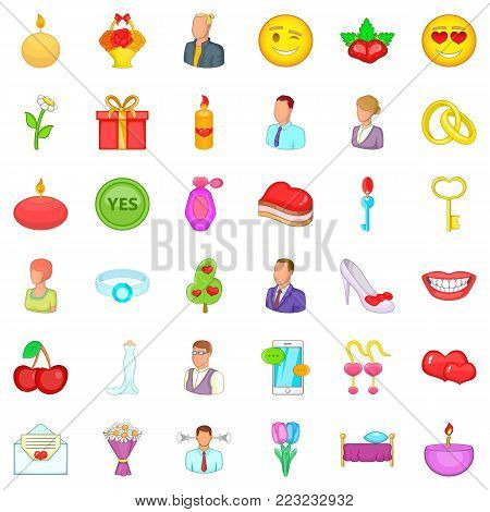 Romantic history icons set. Cartoon set of 36 romantic history vector icons for web isolated on white background