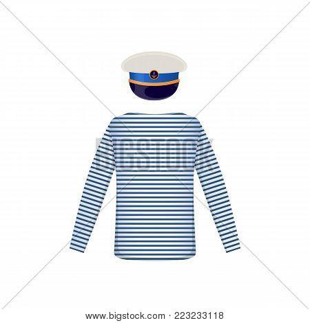 Men s sea striped shirt. Men's long shirt. Clothes in light white-blue colors. Template clothes mockup shirt. White sailor cap. Sea travel elements. Marine object. Vector illustration.