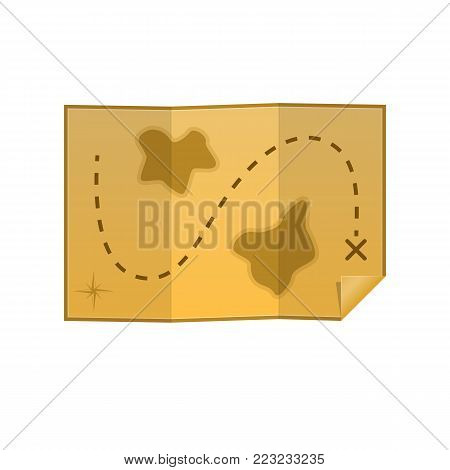Pirate map of treasures, vicinities, with route and marks. Old, faded map on parchment paper, to search for treasure, with landscape, water. Sea travel elements. Marine object. Vector illustration.