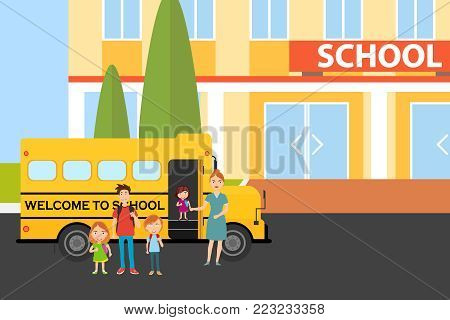 The pupils came to school. Pupils stand near a school bus. Flat design, vector illustration, vector.