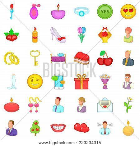 Amorous icons set. Cartoon set of 36 amorous vector icons for web isolated on white background