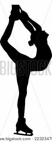 girl skater biellmann spin figure skating black silhouette