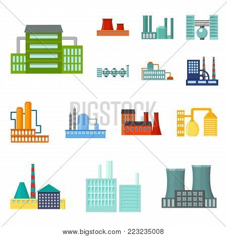 Factory and facilities cartoon icons in set collection for design. Factory and equipment vector symbol stock  illustration.