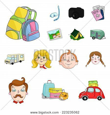 Family holiday cartoon icons in set collection for design. Recreation and equipment. vector symbol stock  illustration.