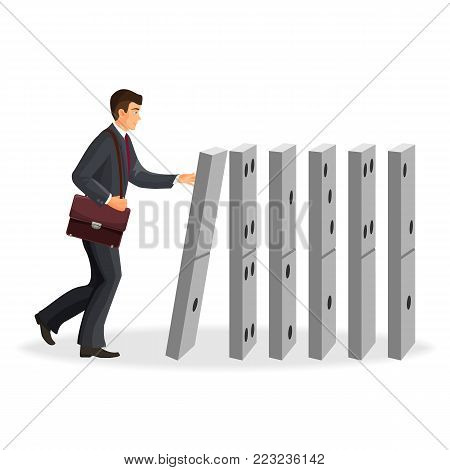 Businessman with briefcase that drops down domino figures isolated cartoon flat vector illustration on white background. Domino effect metaphor visualization.