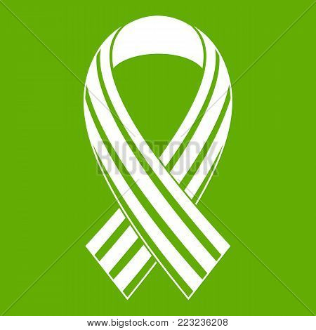 Ribbon LGBT icon white isolated on green background. Vector illustration