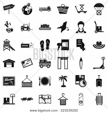 Conveyance icons set. Simple set of 36 conveyance vector icons for web isolated on white background