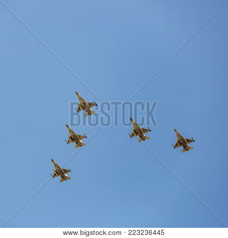 BEER-SHEBA, ISRAEL - may, 02, 2017: The group of five israeli air force F16 at Independence Day