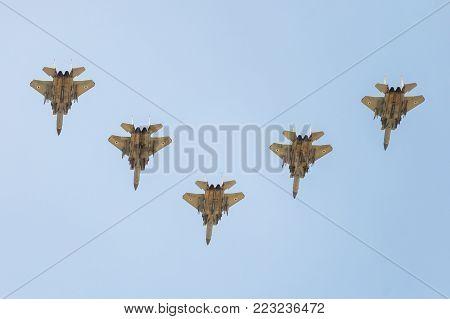 BEER-SHEBA, ISRAEL - may, 02, 2017: Group of five israeli air force F15 at Independence Day