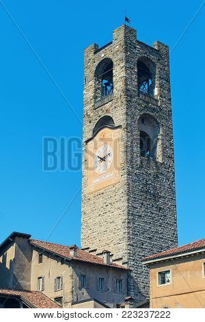 View of Civic Tower Campanone in Bergamo, Italy