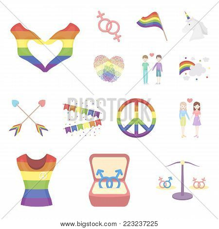 Gay and lesbian cartoon icons in set collection for design.Sexual minority and attributes vector symbol stock  illustration.