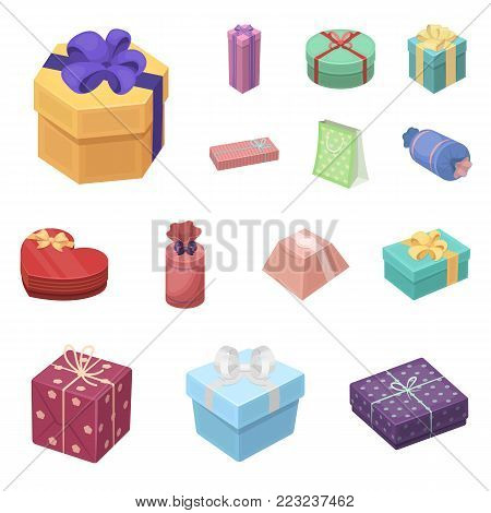 Gift and packing cartoon icons in set collection for design.Colorful packing vector symbol stock  illustration.
