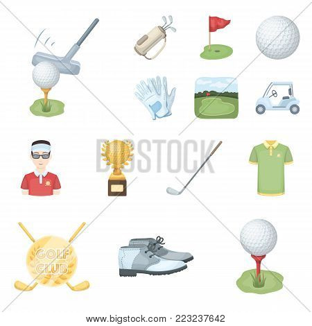 Golf and attributes cartoon icons in set collection for design.Golf Club and equipment vector symbol stock  illustration.