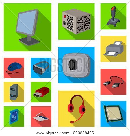 Personal computer flat icons in set collection for design. Equipment and accessories vector symbol stock  illustration.